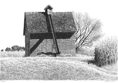 Old Barn Drawing - Barn 22 by Joel Lueck