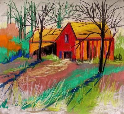 Barns Against A Pale Sky Art Print by John Williams