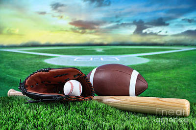 Photograph - Baseball  Bat  And Mitt In Field At Sunset by Sandra Cunningham