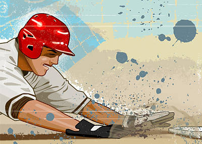Baseball And Gloves Digital Art - Baseball Player Sliding Into Base by Greg Paprocki