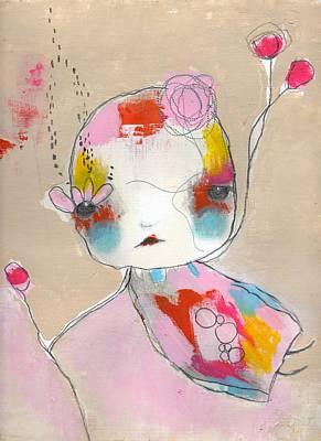Flower Pink Fairy Child Painting - Be Polite by Christina Romeo