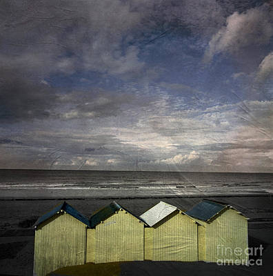 Little Cabin Photograph - Beach Huts Under A Stormy Sky Vintage-look. Normandy. France by Bernard Jaubert