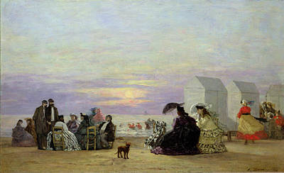Fading Painting - Beach Scene by Eugene Louis Boudin