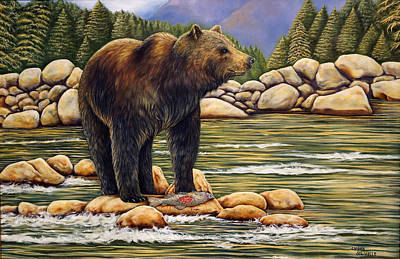 Painting - Bear Catch Of The Day by Carmen Del Valle