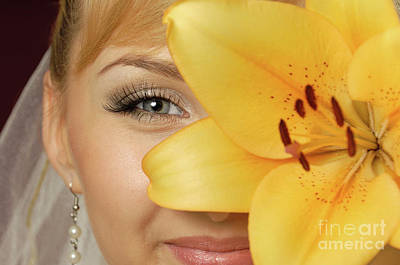 Beautiful Young Woman With A Yellow Lily Art Print