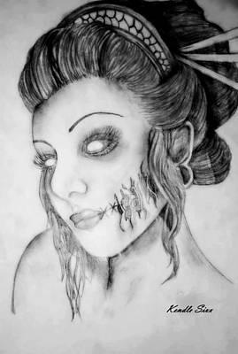 Dead Heads Drawing - Beautiful Zombie by Kendle Sixx