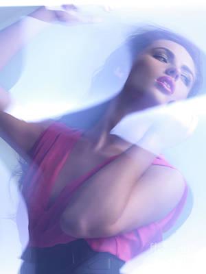 Beauty Photo Of A Woman In Shining Blue Settings Art Print by Oleksiy Maksymenko