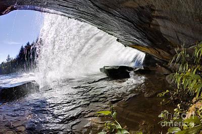 Behind Bridal Veil Falls In Dupont State Park Nc Art Print by Dustin K Ryan