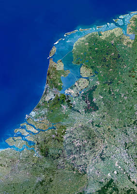 Netherlands Map Photograph - Benelux Countries by Planetobserver