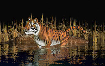 Digital Art - Bengal Tiger by Walter Colvin