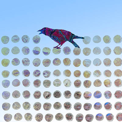 Blue And Red Digital Art - Bird by Ann Powell