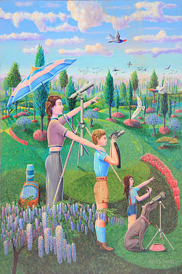 Binoculars Painting - Bird Counters by Purvis Evans