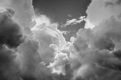 Photograph - Black And White Sky With Building Storm Clouds Fine Art Print by Keith Webber Jr