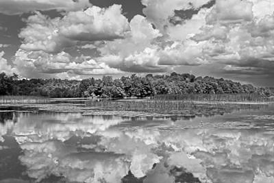 Impressionist Landscapes - Black And White Storm Clouds Cobbossee Lake Maine Fine Art Print by Keith Webber Jr