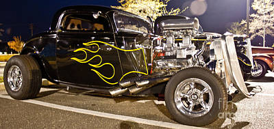 Black Hot Rod Big Engine Art Print by Pictures HDR