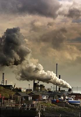 Mess Photograph - Black Smoke Emitting From Factory by John Short