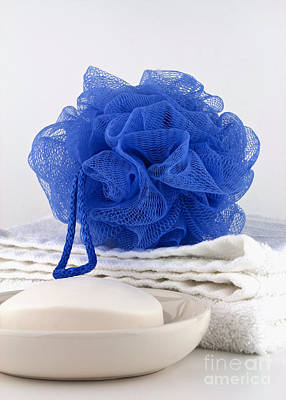 Cleansing Photograph - Blue Bath Puff by Blink Images