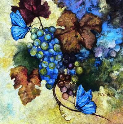 Blue Butterflies  Art Print by Peggy Wilson