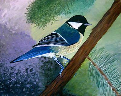 Blue Chickadee Art Print by Angela Gale