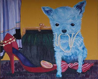 Chihuahua Painting - Blue Chihuahua With Pearls by Gail Mcfarland