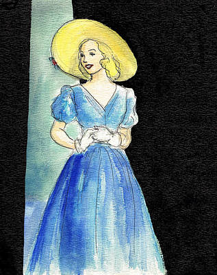 Straw Hat Drawing - Blue Gown by Mel Thompson