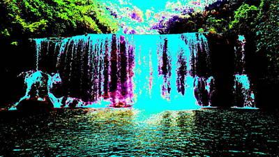 Digital Art - Blue Lava Waterfall by Erika Swartzkopf