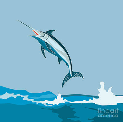 Animals Digital Art Royalty Free Images - Blue Marlin Fish Jumping Retro Royalty-Free Image by Aloysius Patrimonio