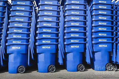Blue Recycle Bins Art Print by Don Mason