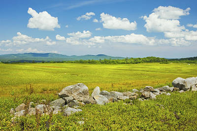 Maine Meadow Photograph - Blue Sky And Clouds Over Maine Blueberry Field by Keith Webber Jr
