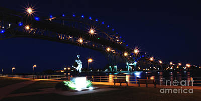 Photograph - Blue Water Bridges At Night by Ronald Grogan
