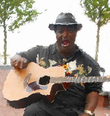 African-american Digital Art - Blues Man by David Lee Thompson