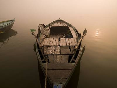 Boat In The Water, Varanasi, India Art Print
