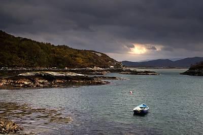 Boat In Water, Loch Sunart, Scotland Art Print