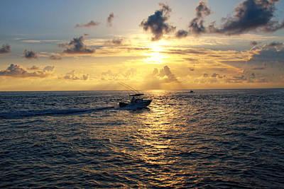 Boating At Sunrise Art Print