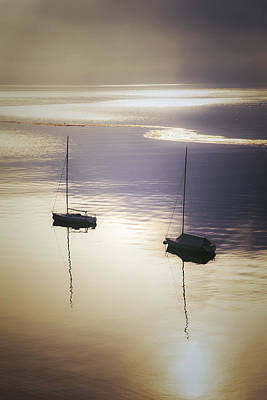 Reflexion Photograph - Boats In Mist by Joana Kruse