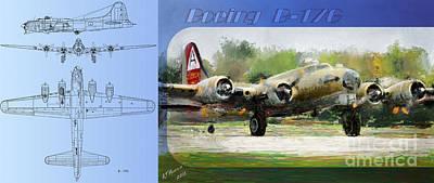 B17 Photograph - Boeing B-17-g by Arne Hansen