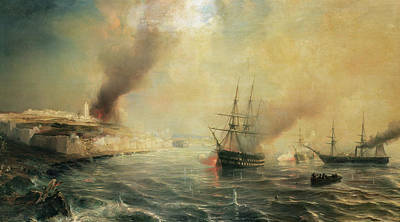 Bombardment Of Sale Art Print by Jean Antoine Theodore Gudin