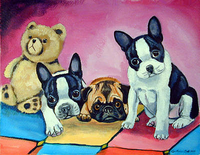 Pug Dog Painting - Boston Terrier And Pug Puppies Pj Party by Lyn Cook