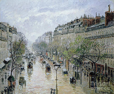 Boulevard Montmartre Print by Camille Pissarro