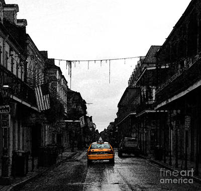 Digital Art - Bourbon Street Taxi French Quarter New Orleans Color Splash Black And White Fresco Digital Art by Shawn O'Brien