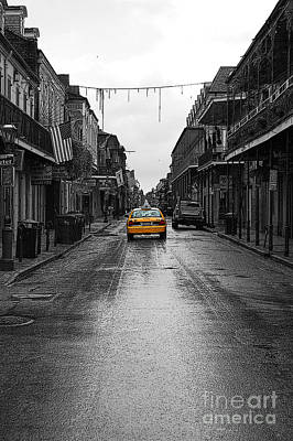Digital Art - Bourbon Street Taxi French Quarter New Orleans Color Splash Black And White Poster Edges Digital Art by Shawn O'Brien