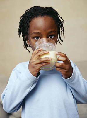Boy Drinking Milk Art Print by Ian Boddy