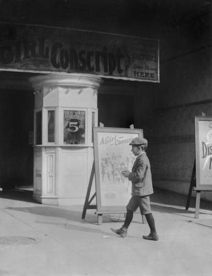 Boy In Front Of A Movie Theater Showing Art Print by Everett