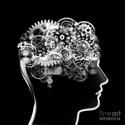 Brain Design By Cogs And Gears Art Print