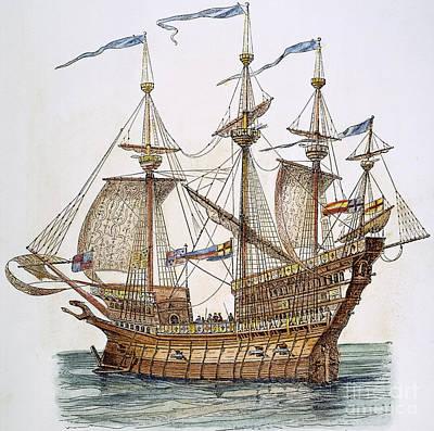 British Warship, 1488 Art Print by Granger
