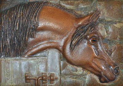 Horse Headstudy Relief - Bronze Arabian Horse Relief by Valerie  Evanson