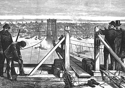 Photograph - Brooklyn Bridge, 1877 by Granger