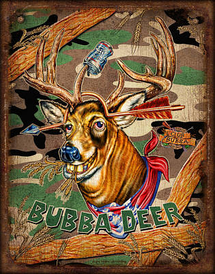 Whitetail Deer Wall Art - Painting - Bubba Deer by JQ Licensing