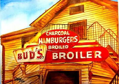 Painting - Bud's Broiler by Terry J Marks Sr