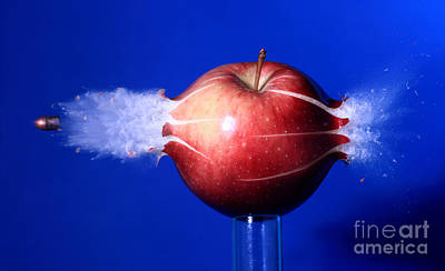Photograph - Bullet Hitting An Apple by Ted Kinsman